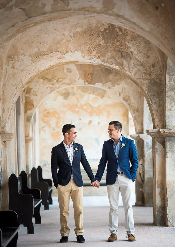 relaxed groom looks with navy jackets, pants and patterned shirts