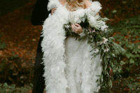01 This fairytale-inspired wedding in the woodswas full of feather touches and unique details