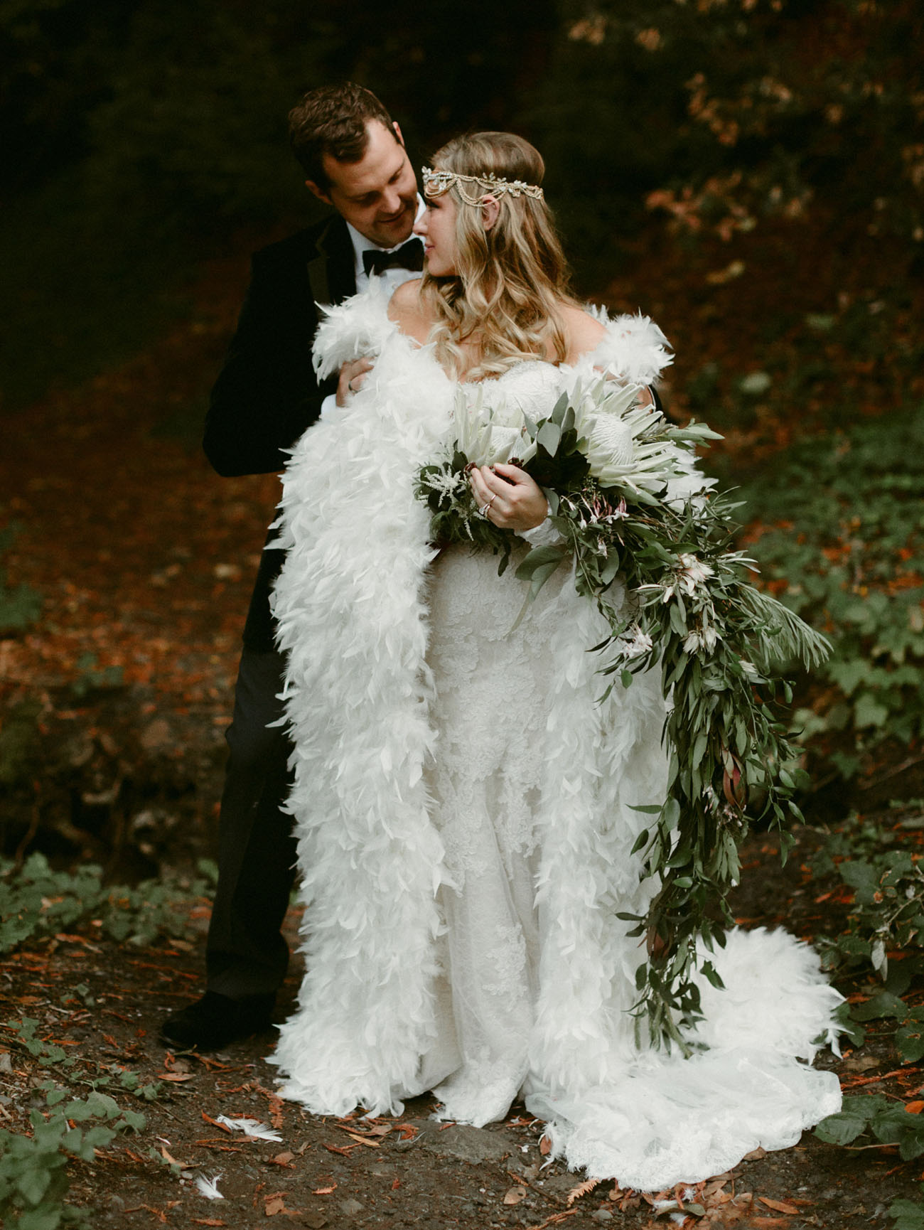 This fairytale inspired wedding in the woodswas full of feather touches and unique details