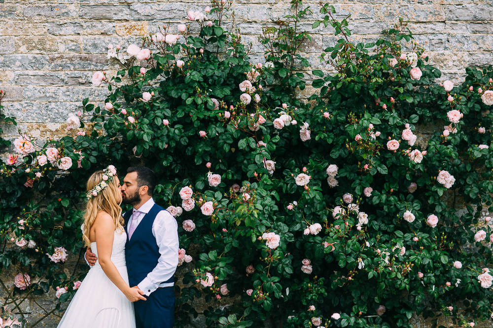 This wedding took place in an old barn and was filled with beautiful blush touches