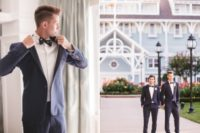 02 Both grooms rocked stylish navy suits and Mickey Mouse printed bow ties