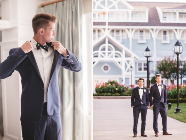 Both grooms rocked stylish navy suits and Mickey Mouse printed bow ties