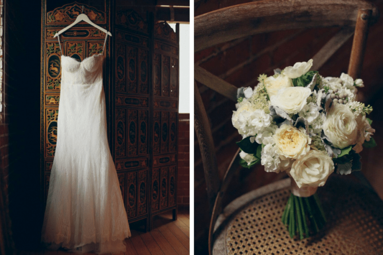 The bride was wearing an ivory strapless dress and an ivory bouquet