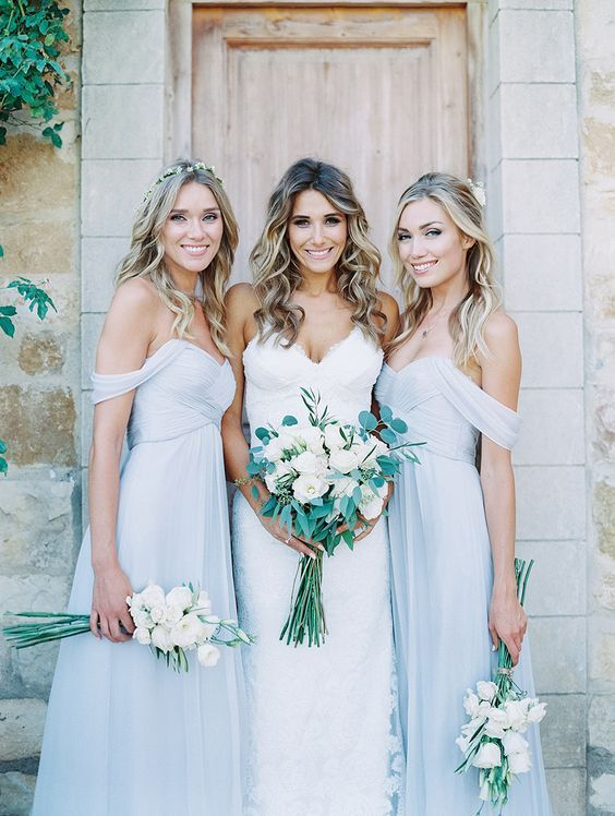 blue off the shoulder bridesmaid dresses