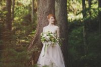 02 blush strapless wedding dress with a messy textural woodland bouquet