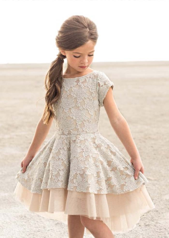 ivory lace over the knee dress