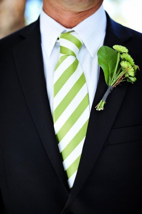 lime green accents for groom's look can be a boutonniere or a tie
