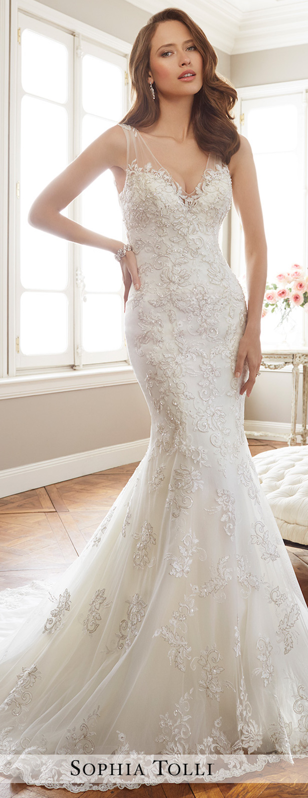 02 mermaid silhouette, illusion straps and a deep V neckline, lace and beading make this dress stunning