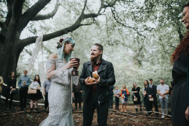 The bride and the groom shared gluten-free bread and some mead