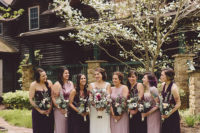 03 The bridesmaids were rocking lavender and purple maxi dresses and dark bouquets