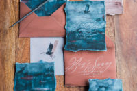03 The stationary set was hand-painted in deep indigo and copper shades