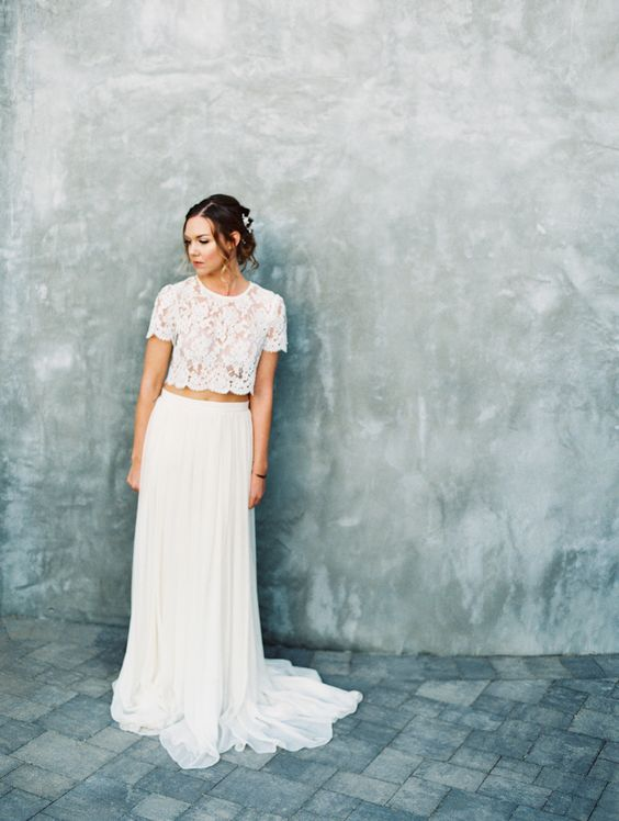 a white bridal separate with a lace top and a plain skirt is ideal for a boho bride