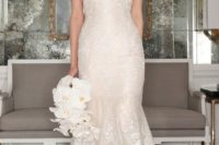 03 illusion neckline off the shoulder flower lace wedidng dress by Romona Keveza
