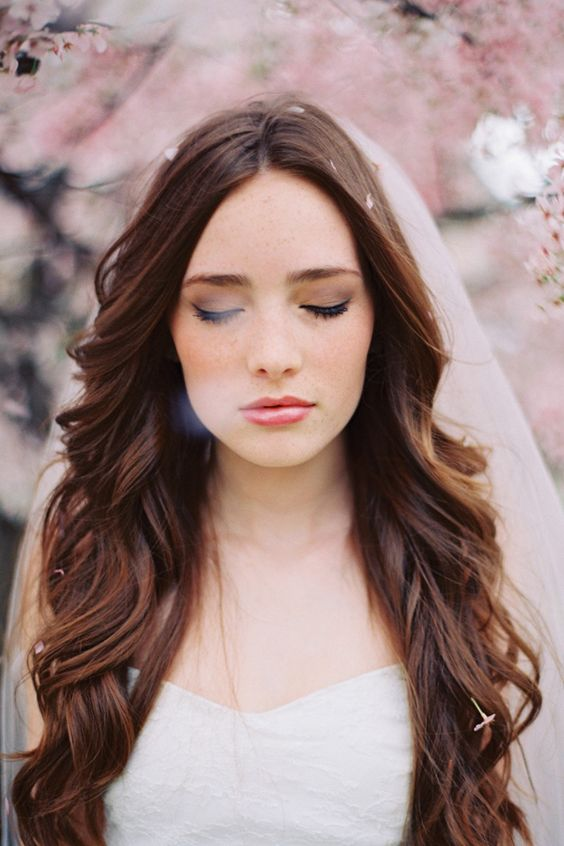 long wavy hair is ideal for romantic spring nuptials