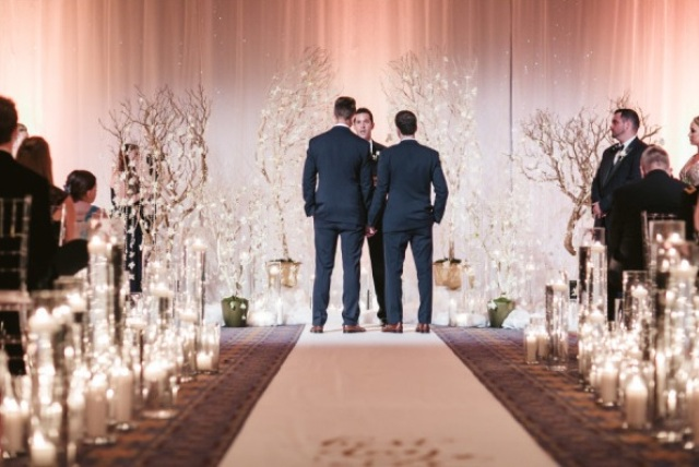 the ceremony was filled with candles all over to make the space even more romantic