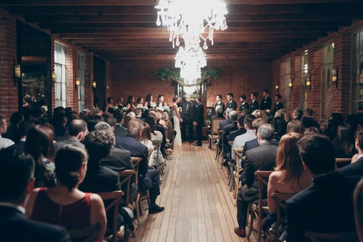 The ceremony and reception took place in the same space