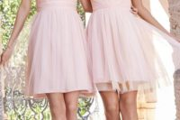 04 blush pink bridesmaid dresses, strapless and covered