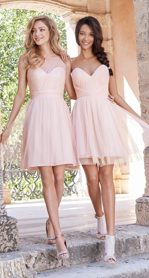 blush pink bridesmaid dresses, strapless and covered