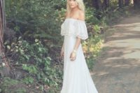 36cb03b3947b Picture Of off the shoulder wedding dress with a lace bodice and a slit by Limor  Rosen. 35 Spring 2017 Wedding Dresses That Wow
