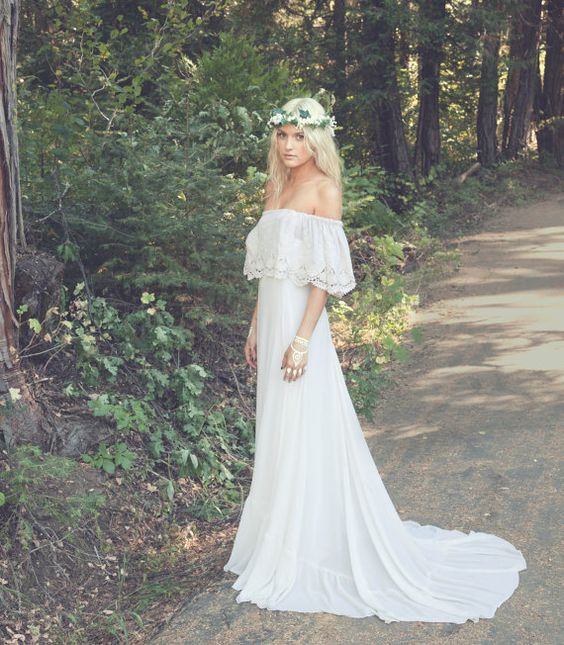 boho lace off the shoulder wedding dress with a small train