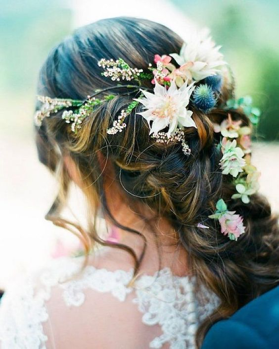boho wedding hairstyle with wildflowers