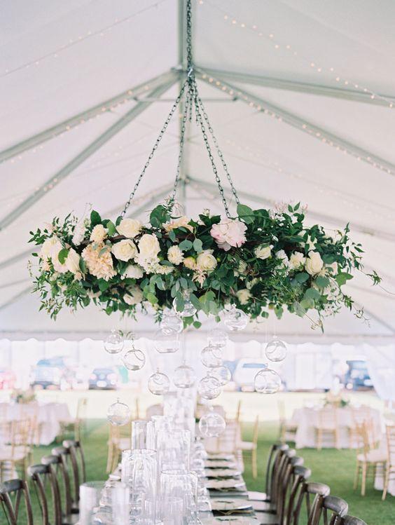 elegant fresh floral chandelier with greenery