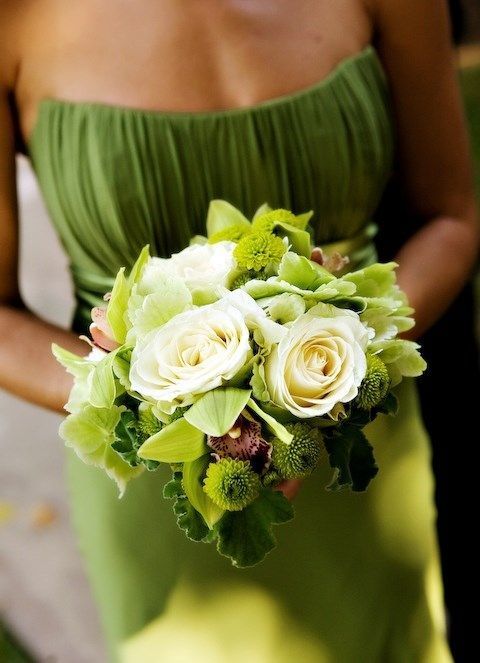 greenery bridesmaid's dress and flowers