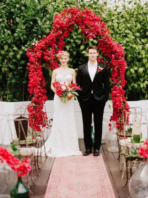 stunning bougainvillea wedding arch is right what you need for such a wedding