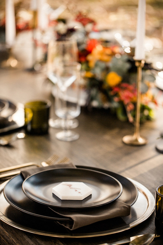 I like the geo place cards and dark plates and napkins for a moody fall feel