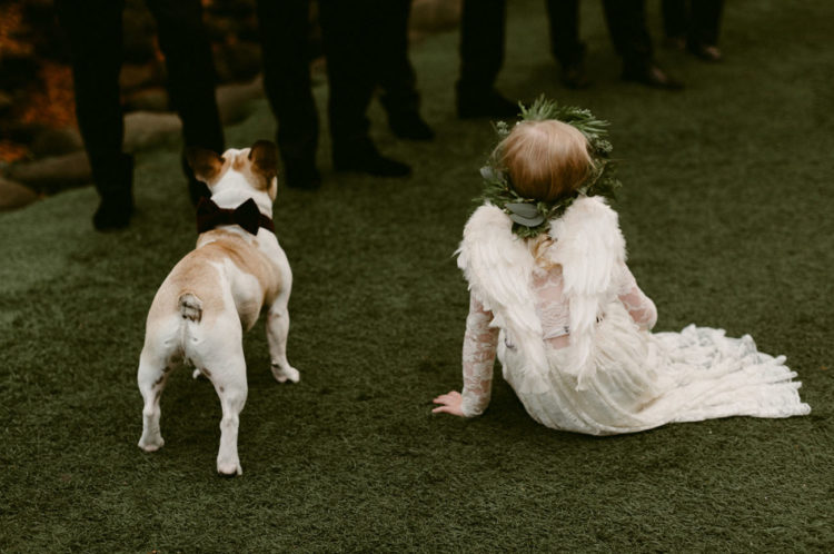 The couple's pup wore a custom velvet bow tie, with leash from Frenchic Love