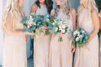 05 blush maxi gowns with metallic detailing and halter necklines