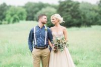 05 groom in tan pants, chambray shirt and suspenders