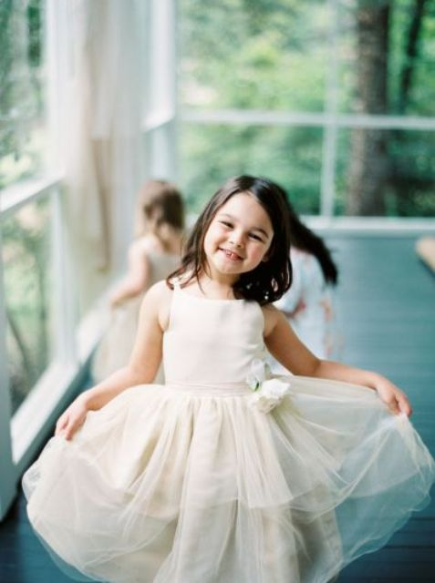 ivory tulle dress is classics