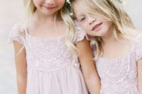 05 lace and bead blush dresses and flower and leaf crowns for flower girls