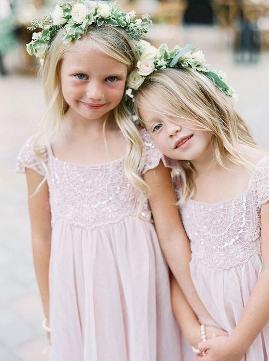 lace and bead blush dresses and flower and leaf crowns for flower girls