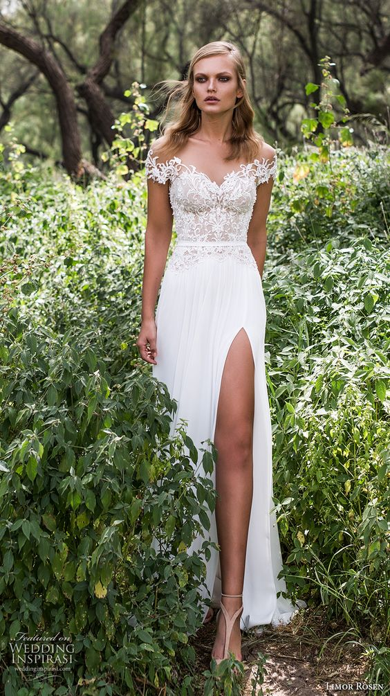 off the shoulder wedding dress with a lace bodice and a slit by Limor Rosen