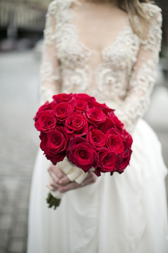 one-flower bouquet of red roses because nothing is better than classics