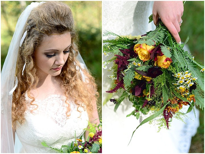 Besides a veil, the bride wore feathers and her bouquet was bold and textural