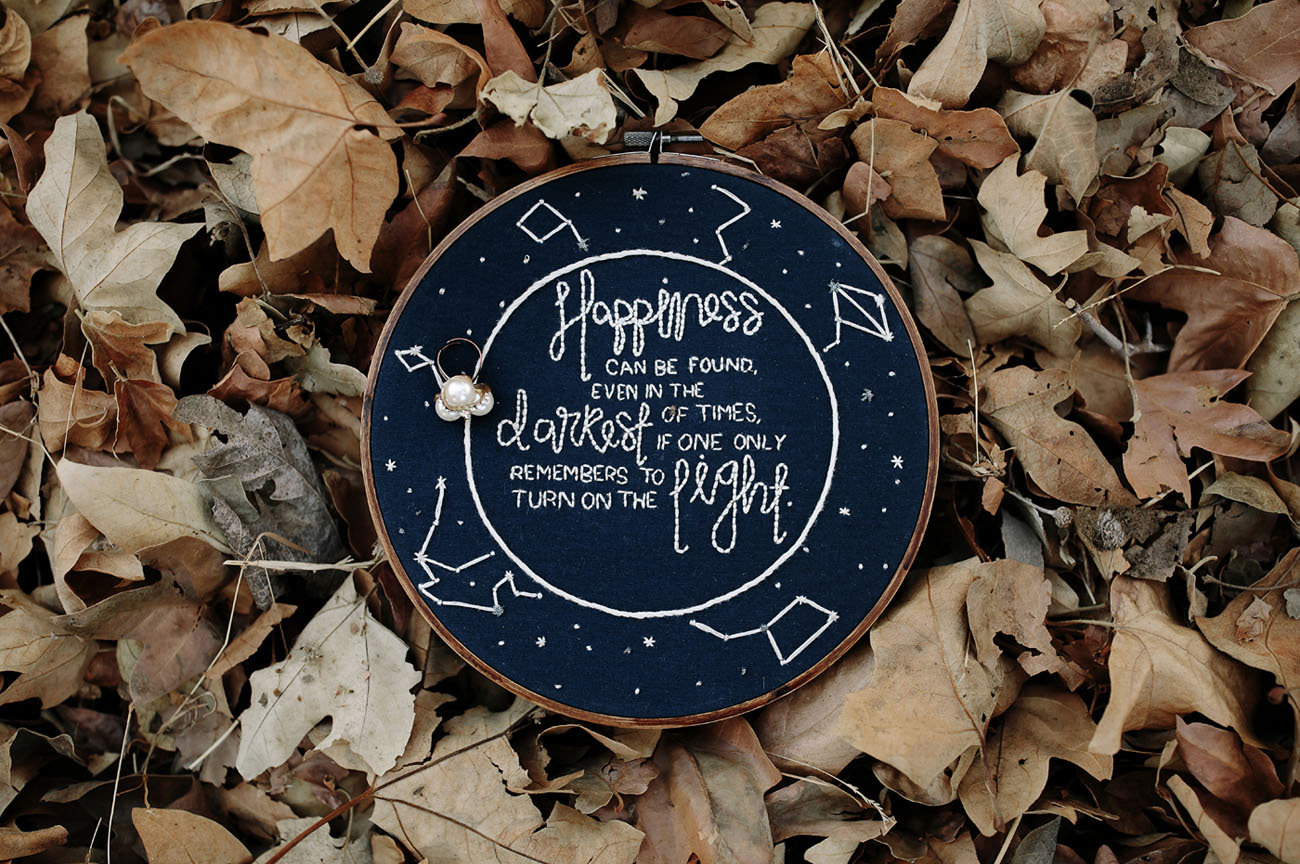 The embroidery hoop with the Dumbledore quote