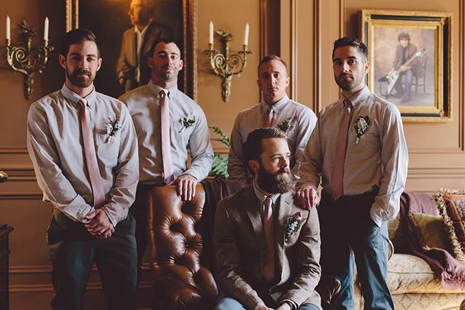 The groomsmen didn't wear jackets