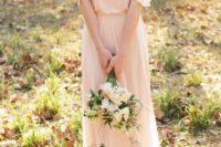 06 blush ruffle cold shoulder maxi dress