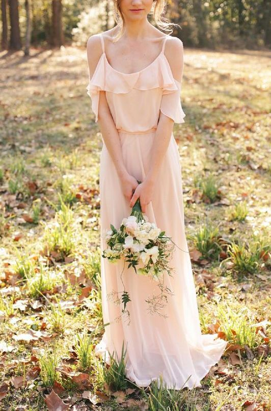 blush ruffle cold shoulder maxi dress