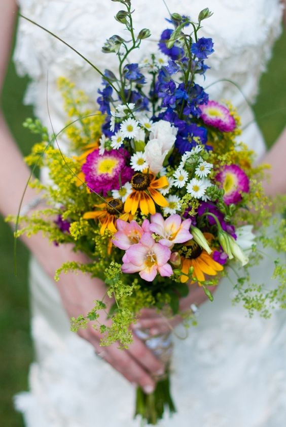 pink, violet, yellow bouquet