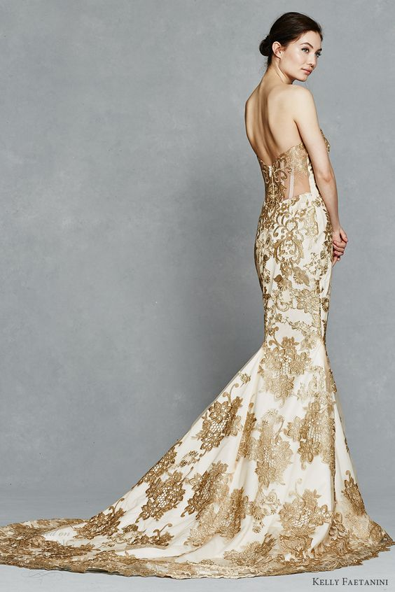 White And Gold Mermaid Wedding Dresses : Gold touches for your valentine s day wedding