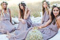 07 boho-inspired lavender mix and match bridesmaids' dresses