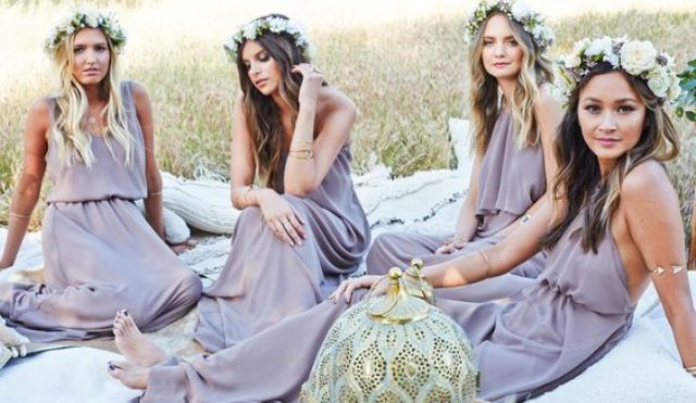 boho inspired lavender mix and match bridesmaids' dresses