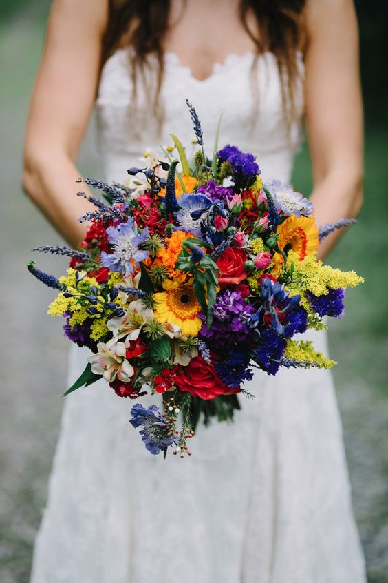 bold wildflower wedding bouquet can be made by yourself