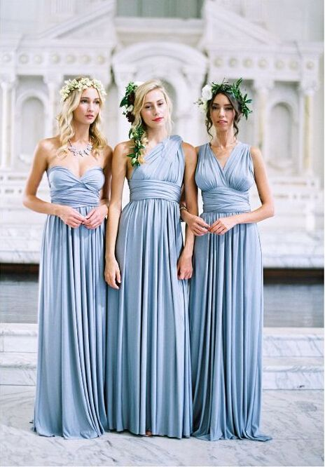 convertible light sky blue bridesmaid dresses