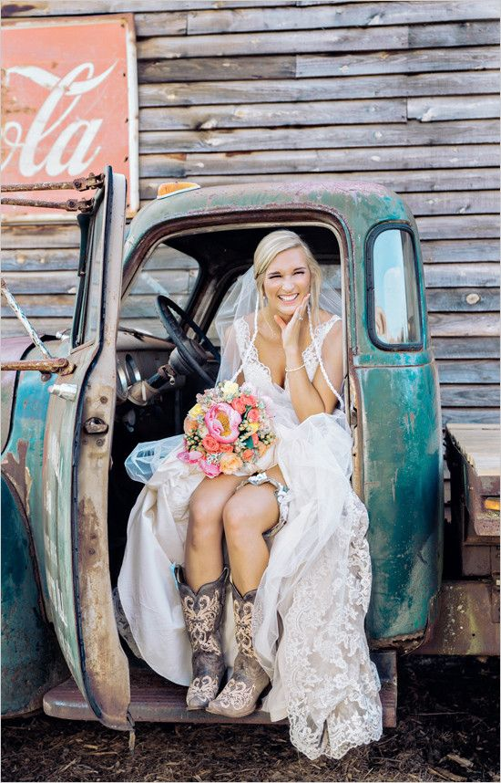 cowboy boots are a great idea if it's a farm wedding