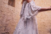 08 off the shoulder white lace wedding dress with fringe sleeves